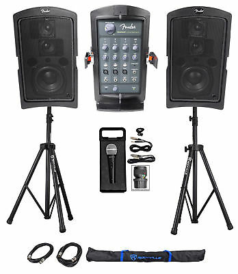 """FENDER PASSPORT CONFERENCE Powered Portable 5.25"""" PA Speakers+Stands+Mic+Cables"""