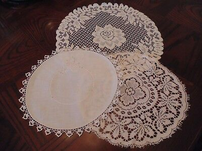 lot of three vintage lace and cloth doilies, heritage lace and more