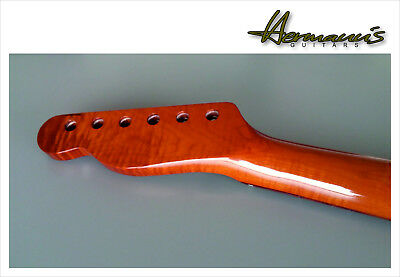 Telecaster Roasted Flamed Maple Neck mit Abalon Dots im Pau Ferro Griffbrett