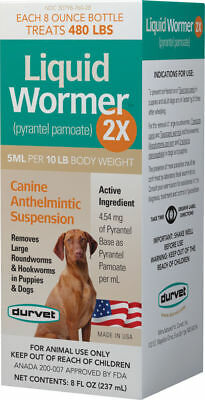 Durvet Liquid Wormer 2X pyrantel Pamote Dog Anthelmintic Suspension 8oz