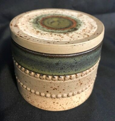 """Mid Century Denby England Pottery Striped Lidded Jar Crock Container 2 3/4"""" Tall"""