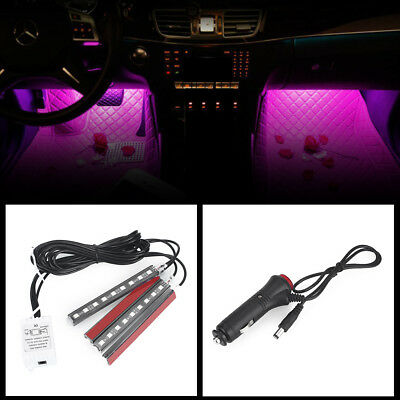 Car Atmosphere Ambient Light Durable Remote Rgb Floor 4 X 9LED Light Strip