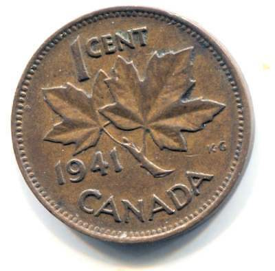 1941 Canadian 1 Cent Maple Leaf Penny Coin - Canada - King George VI