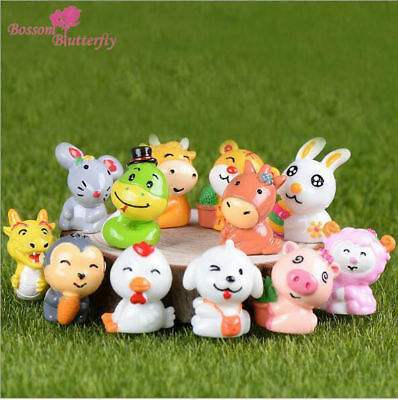 12 Chinese Zodiac Animal Dolls Fairy Garden Home Decoration Resin Figurine Craft