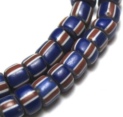 62 Amazing Small Old Cobalt Striped Venetian Antique Beads African Trade