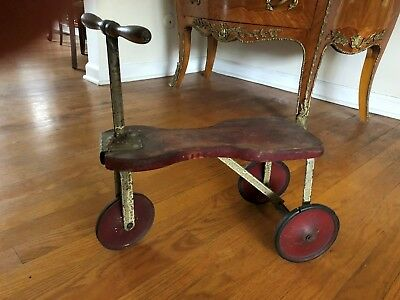 Antique Child's wood & metal Scooter ~ Original Red Paint
