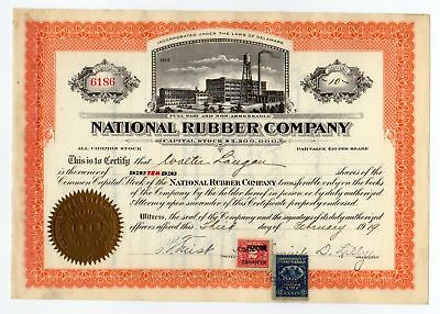 National Rubber Company Stock Certificate with Revenue Stamps