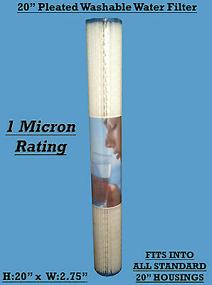 """20"""" Pleated Washable Water Filter Cartridge Removes Sediment down to 1 Micron"""
