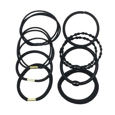 8x Mixed Black Elastic Rubber Band Rope for DIY Hair Accessories Headband