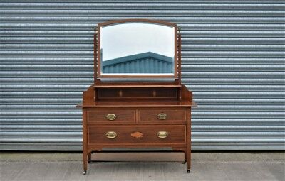 Edwardian Dressing Table Mahogany with Inlay Drawers and Large Mirror.