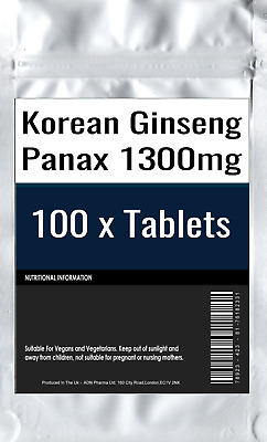 Korean Ginseng Panax 100 Tablets 1300mg Boost Sexual Energy Libido Delay