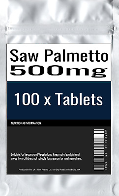 Saw Palmetto Extract 500mg 100 Tablets Serenoa Repens