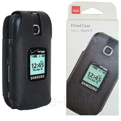 Verizon Leather Fitted Case for Samsung Gusto 3 Cell Phone with Clip Holster