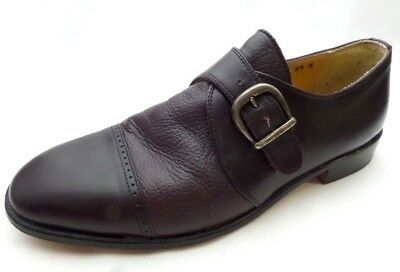 f82c6f43e6c00 VITO PAPOLO ITALY Cap Toe Monk Strap Burgundy Leather Loafer Shoes Men's  8.5 M
