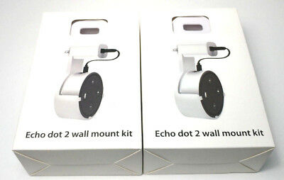 White Outlet Wall Mount Kit for Echo Dot with Short Cable 1 Lot of 2