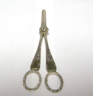 Antique Vintage Silver Sewing / Embroidery Scissors                        dn