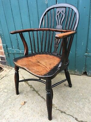 Antique Welsh Georgian Windsor Yew, Ash and Elm Chair (Carver Elbow Armchair)