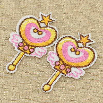 2 Pcs Anime Sailor Moon Wand Patches Iron on Sewing on Embroidered for Clothing
