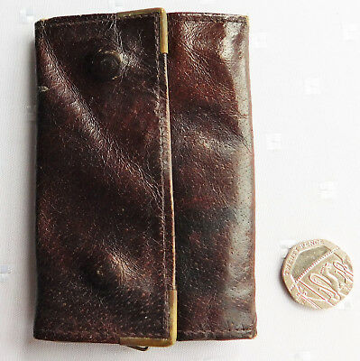 Vintage Carlo brown key holder with zipped coin purse real leather wallet