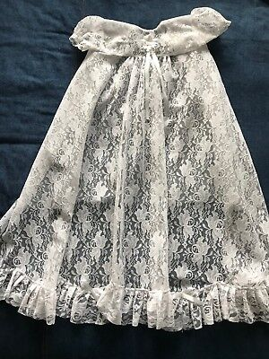 Lace Retro Baby Christening Gown Tie Over White Hand Made Gorgeous Item LOOK
