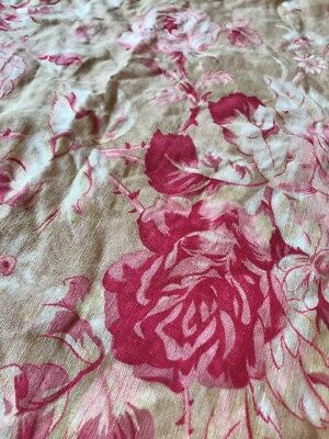 Pr Pottey Barn Linen Cotton Blend Standard Shams Pink Magenta Roses