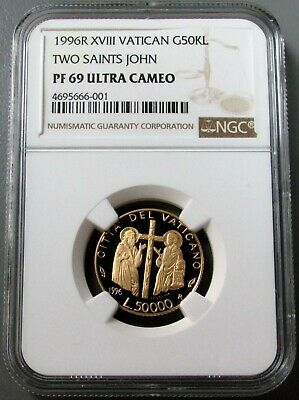 1996 R Xvii Gold Vatican 50,000 Lire Two Saints John Ngc Proof 69 Ultra Cameo