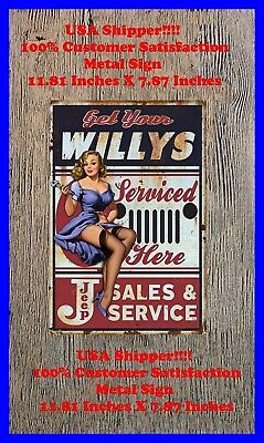 Willys Serviced Here Man Cave DECOR Metal Tin SIGN Pinup Girl Bar JEEP GARAGE