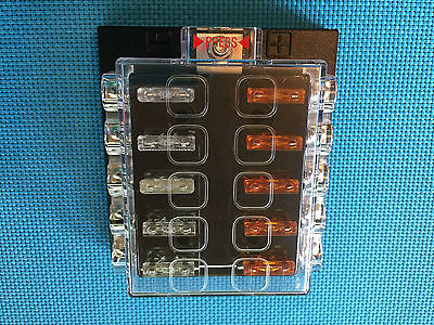 Atc / Ato Medium 10 Way Covered Fuse Panel Block With Fuses