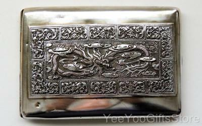 OLD Chinese SOLID SILVER export DRAGON & PAGODA cigarette/card BOX-case
