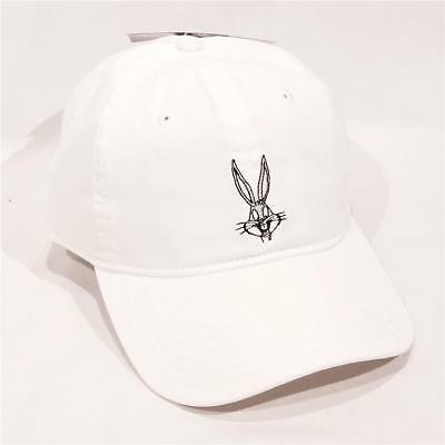 New WB Looney Tunes White Embroidered Bugs Bunny Baseball Cap Hat - NWT