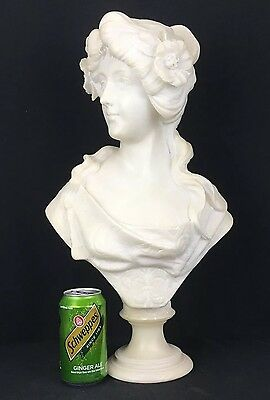 Gorgeous Antique Hand Carved Italian White Alabaster Bust Of Young Lady Signed