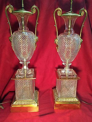 Gorgeous Pair of French Baccarat Cut Glass Crystal & Bronze Table Lamps