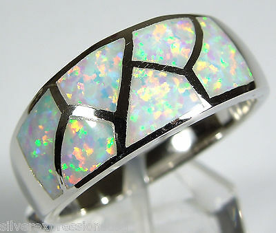 White Fire Opal Inlay Solid 925 Sterling Silver Band Ring size 6