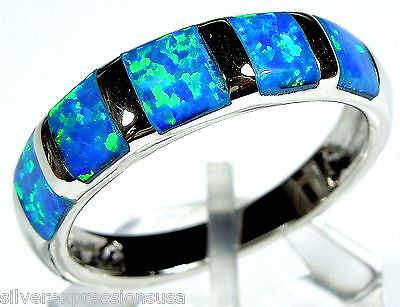Blue Fire Opal Inlay Solid 925 Sterling Silver Band Ring size 6, 7
