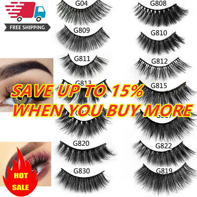 SKONHED 5 Pairs 3D Mink Hair False Eyelashes Thick Wispy Lashes Natural Cross