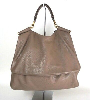 a2b61b38868 DOLCE   GABBANA Tan beige Leather Satchel Large Shoulder Bag ITALY  Sicily 1032