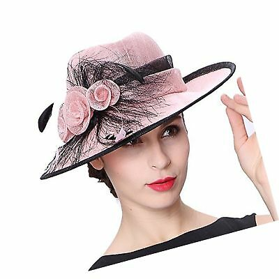 Koola s hats Champagne Brown 3 Layers Sinamay Kentucky Derby Church Sun  Summe. a20eb12542ea