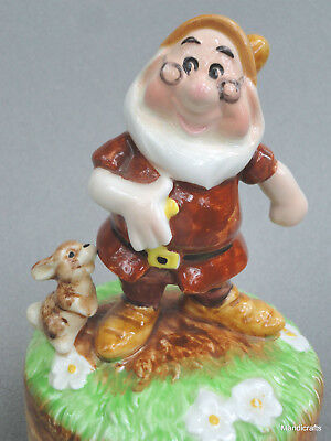 Schmid Musical Figurine 6in Disney Doc Dwarf WDP Whistle While Work Porcelain