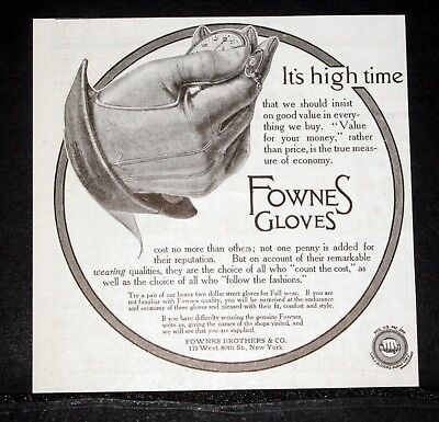 1913 Old Magazine Print Ad, Fownes Gloves, It's High Time, Value For Your Money!