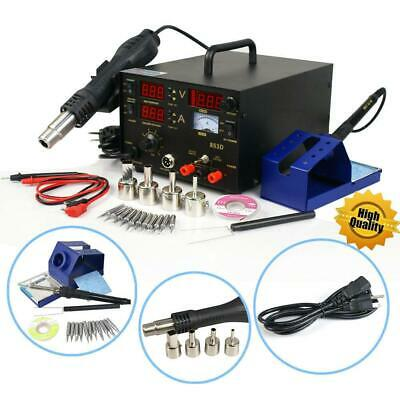 853D 3in1 SMD Soldering Rework Station Hot Air Gun DC Power Supply Portable New