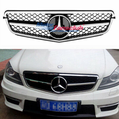 New For Mercedes Benz W204 C63 Grille Grill 2008-2013 C-Class AMG Chrome Silver
