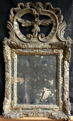 c.1700 FINE LOUIS XIV FRENCH CARVED & GILDED WALL MIRROR - SUPERB