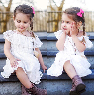 AU Seller Cute Toddler Kids Girls Lace Floral Pageant Party Summer Dress Dresses