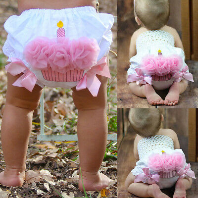 US Newborn Infant Baby Girls Ruffle Cupcake Diaper Cover Bloomer Shorts Outfits