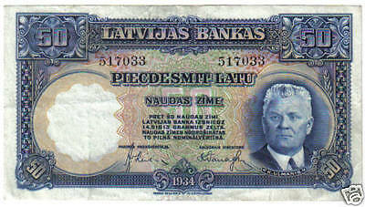 Latvia 50 Latu 1934 Pick 20 Look Scans