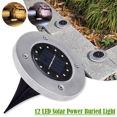 12LED Solar Powered Buried Disk Lights IP44 Waterproof Outdoor Under Ground Lamp