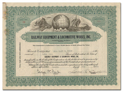 Railway Equipment and Locomotive Works, Inc. Stock Certificate
