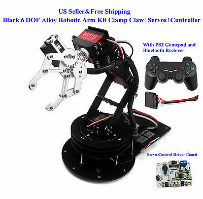 US Black 6 DOF Alloy Robotic Arm Kit Clamp Claw+Servos+Controller Arduino