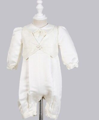 Stunning Baby Boys Special Occasion Christening Romper Lined White Satin