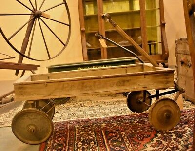 Rare Antique Vintage Toy Red Racer Childs Wood Wagon